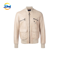 2017 latest design badge beige leather jacket for mens