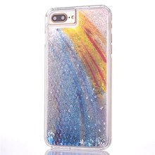 New arrival rainbow style hard plastic liquid quicksand phone case for iphone 8 7 plus