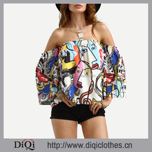 2017 Latest design summer guangzhou clothing factory custom fashion women formal Off The Shoulder Graffiti Printed Crop Top