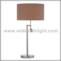 UL Listed Brushed Nickel Hotel Table Lamp With Reading Lighting For Bedroom T60022