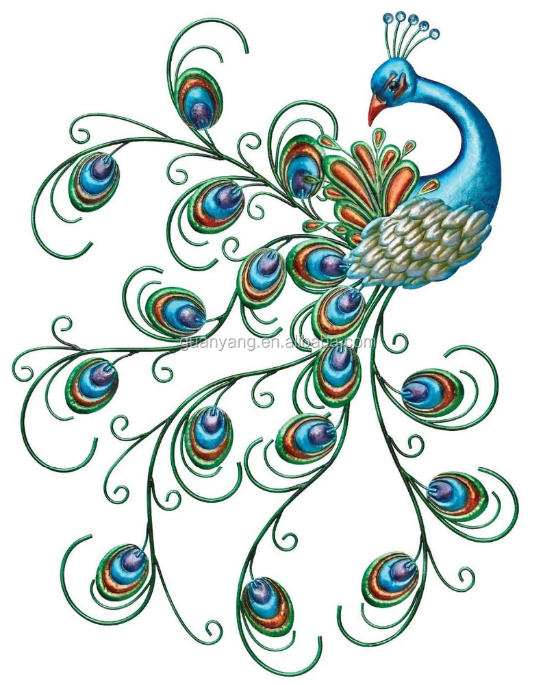 Metal wall art decor Pretty Peacock wall decoration hanging