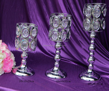 3 Size Silver Crystal Candle Holder Candelabra For Wedding Table decoration