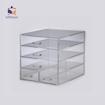 customized clear acrylic lucite 5 acrylic drawers make up box stackable box storage boxes cosmetic box custom makeup box
