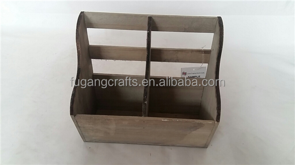 Different styles grey color light weight wood wine bottle basket with divider