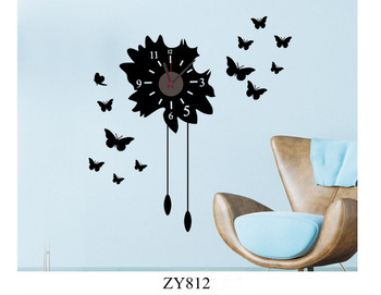 ZY812 The Black Butterfly Pattern Islamic Wall Art Stickers Clock/ZooYoo 2013 New