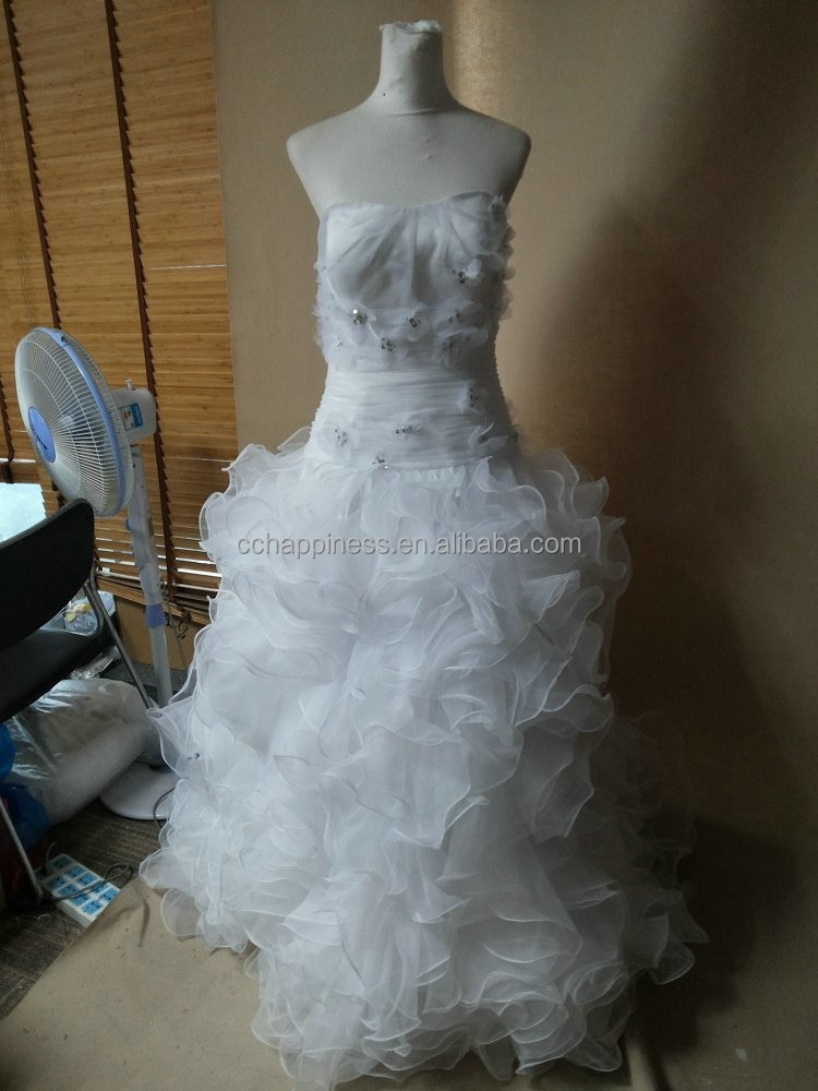 White long train ready made wedding dresses bridal gown with bolero