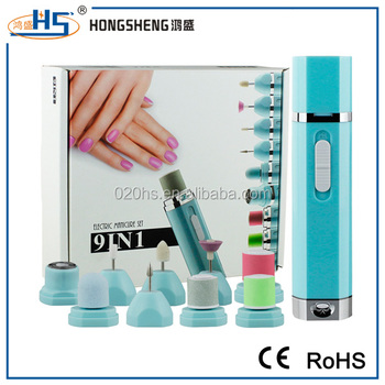 new product 9 in 1 manicure and pedicure equipment electric nail file buffer