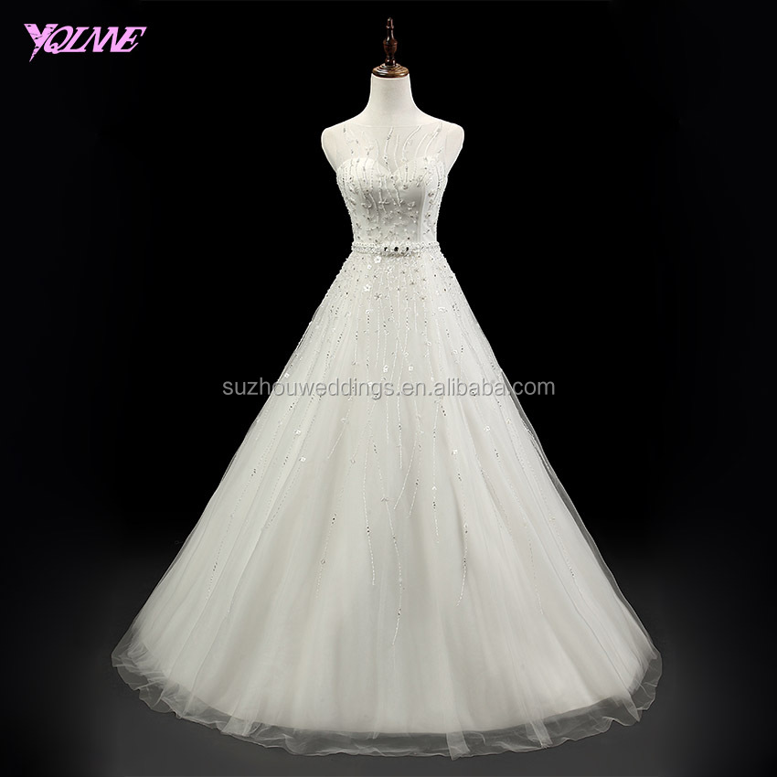 Yqlanbridal Gorgeous Crystals Beaded Tulle Wedding Dress Bridal Gown Vestido de Noiva