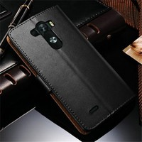 For LG G3 PU Leather Wallet Case / Cover / Pouch with Card Slots & Bill Compartment With Screen Protector - Black