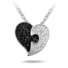 lucky and elegant rhodium plated metal alloy crystal heart shape pendant necklace in yiwu futian market