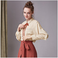Batwing sleeve blouse neckline lace-up Autumn cloak blouse long sleeve casual woman wear