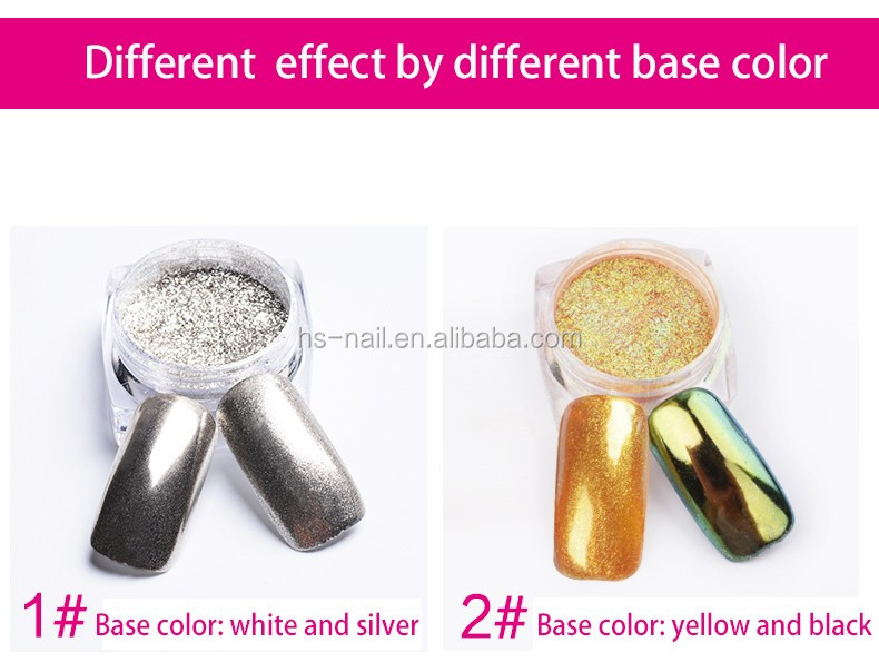 Popular selling 12 color mirror effect magic pigment metalic powder for nail art decoration