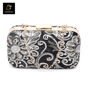 indian evening metal hardware flower clutch bags for match clothes