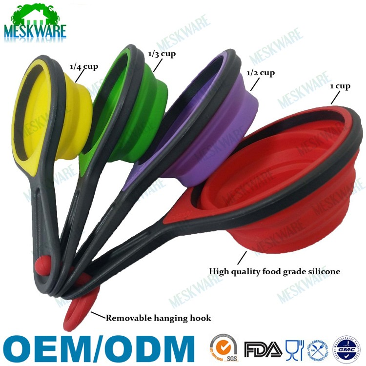 4-Piece set folding portable collapsible silicone measuring cups and spoons set