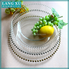 New product wholesale gold beaded glass charger plates for wedding decoration