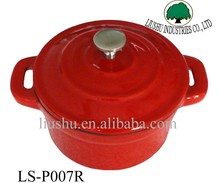Mini enamel cast iron casserole cookware in red color with stainless steel knob