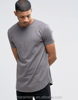 Blank Cotton Spandex Mens Short Sleeve Longline Curved Hem T Shirt Hot Sale Street wear Loose Fit Elongated T Shirt Wholesale