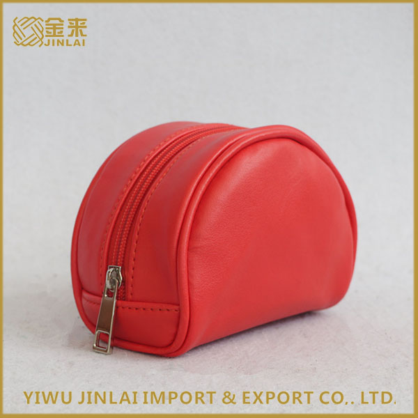 Promotional elegant Ladies high quality red PU Leather Cosmetic Bag