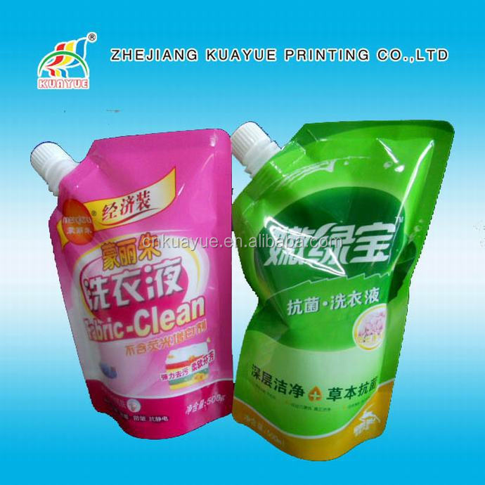 Best Sell Cheap Price High Foam Detergent Spout Pouch,Doypack Bags,Stand Up Fabric Cleaner Packaging Bag With Spout
