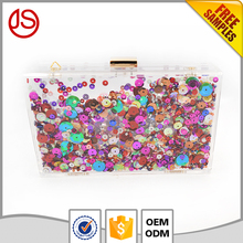 wholesale moving glitter transparent acrylic box clutch Liquid Purse Bag Box Clutch Metal Frame Purse bag