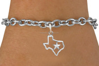top hot selling zinc alloy lead free texas star map state charms link chain bracelet jewelry direct buy china
