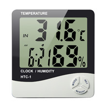 Indoor Digital C/F Thermometer Hygrometer Temperature Humidity Meter Clock HTC-1 for home weather station multi-funcation