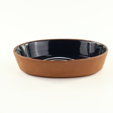 Black Glazed Oval Terracotta <strong>Plate</strong> Ceramic Oval Ovenware Microware