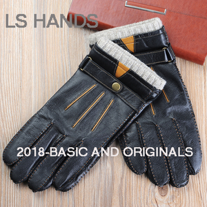 Tan/brown handseam goat nappa leather gloves mens driving leather gloves