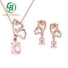 China jewelry factory Earring and Necklace Set butterfly rose gold jewelry