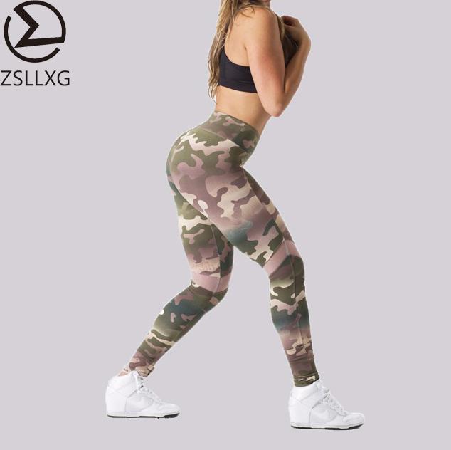 2018 Popular Sport Fitness Custom Women Gym Workout Sportswear Camouflage Yoga Leggings High Waist Yoga Pants Leggings