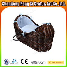 Linyi hand-woven bassinet wicker baby basket with fabric