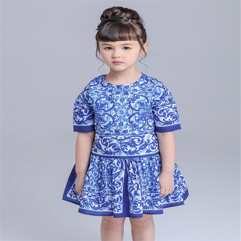 Italy Creations Girls Dress Children Clothing Brand Princess Dress Girl Clothes Blue Majolica Kids Dresses for Girls Costumes