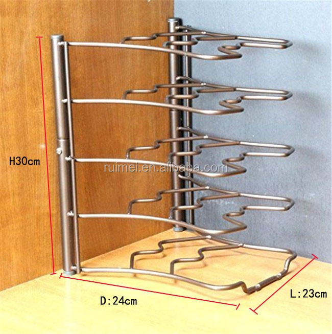 Kitchen Counter and Cabinet Pan Organizer Pans Shelf Rack