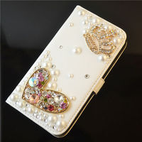 luxury rhinestone case for SAMSUNG Galaxy s4 case shinning crown leather flip wallet case