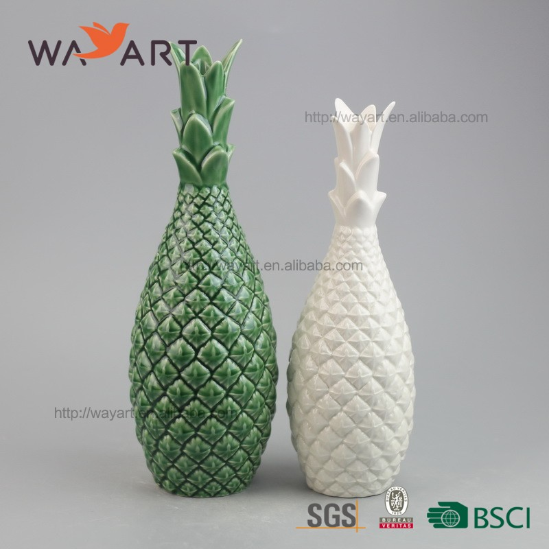Newest Hand Made Green And White Color Ceramic Pineapples Wholesale