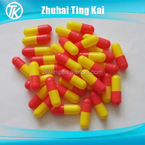 Unfilled red and yellow size 1 halal vegetarian capsules
