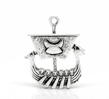 Jewelry Supplies 10PCs Antique Silver Viking Pirate Ship Charm Pendants