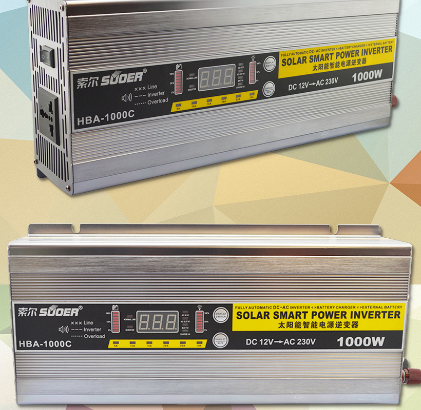 Suoer DC To AC 12V 1000W Modified Sine Wave Solar Power Inverter with battery charger