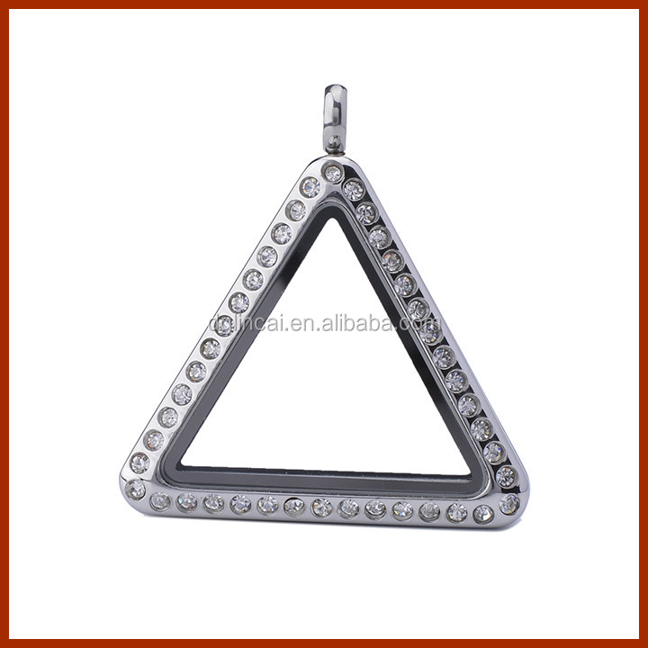 stainless steel triangle magnetic floating charm locket pendant