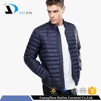 Daijun OEM china factory high quality fashion blue nylon shell 90% white duck down 10% feather winter plain custom down jacket