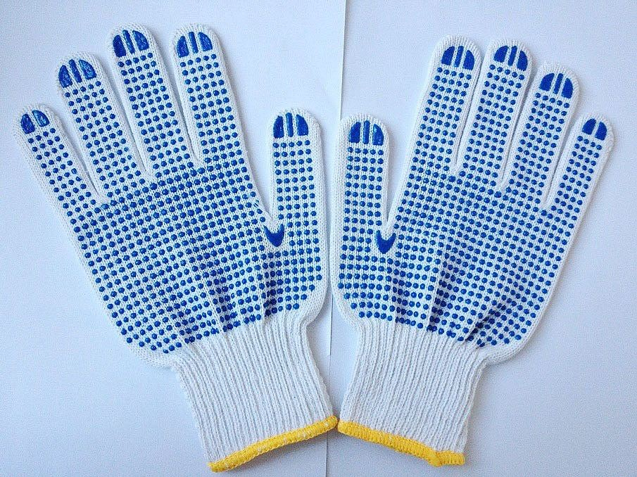 7/10 gauge white PVC dotted cotton gloves ,PVC dotted white saftey glove ,cotton glove