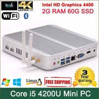 mini linux embedded pc with latest computer processors 2.6GHz core i5, mini pc host alloy case 297*297*29mm small