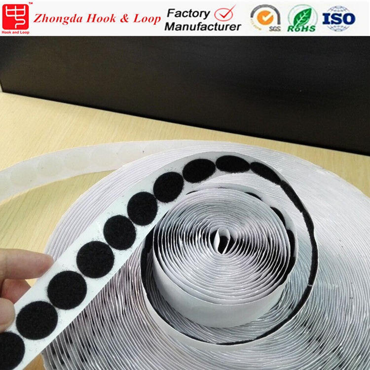 Factory wholesale hook and loop dots with sticky adhesive tape