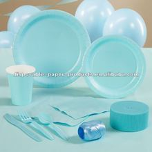 Light Blue Paper Party Supplies partyware Pack Including Plates, Cups, and Napkins