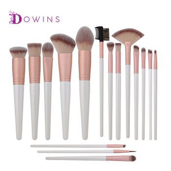 2018 high quality white handle 16 pcs best makeup brushes with pink Large Makeup Brush Roll