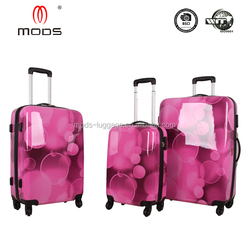 CHINA SUPPLIER ABS FILM PRINTING HARDSIDE FOUR WHEELS TRAVEL SUITCASE