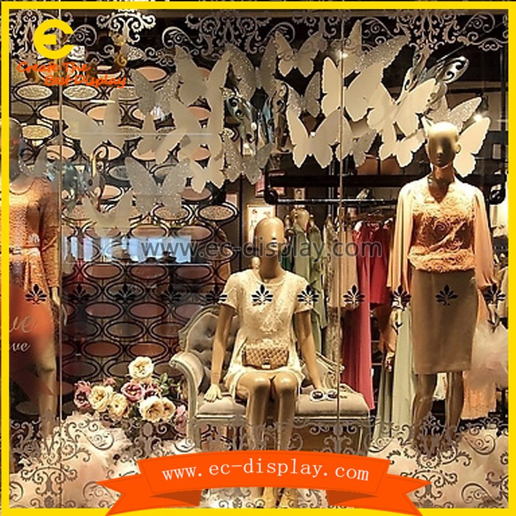 custom display window handmade wooden carving artificial butterfly for decorations