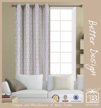 1pc Jacquard Geometry Style Fabric Window Curtain Panel With 8 Grommets For Window