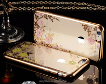 ultra thin For iphone 6/ 6s case, for iPhone 6 soft tpu PC case, for iphone case electroplate bumper with flower diamond