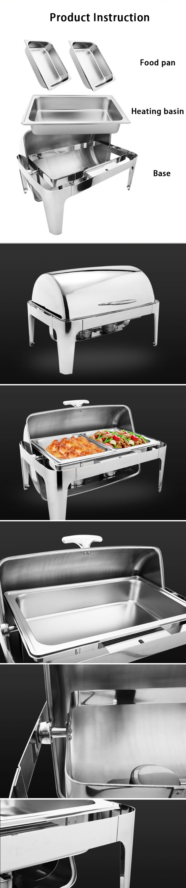 MUK hotel restaurant round design stainless steel buffet dinner chafing dish